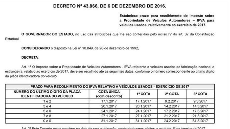 Parte do Decreto nº 43.866, do Governo de Pernambuco, onde se vê a tabela com os prazos. Foto: Reprodução/DO